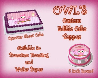 Owls Custom Edible Images Cake topper