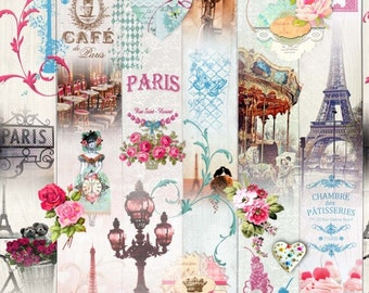 Delicious Paris fabric - Fabric eiffel tower - patisserie fabric - fabric treats - fabric heart - retro - vintage fabric - 1/2 meter fabric