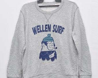 Vintage Wellen Surf Sweater Surfing Wear Sweatshirt Hawaiian Surf Ocean Pacific Large Size