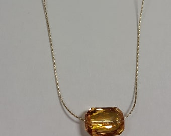 Swarovski Crystal Pendant In Topaz With Gold Plated Chain