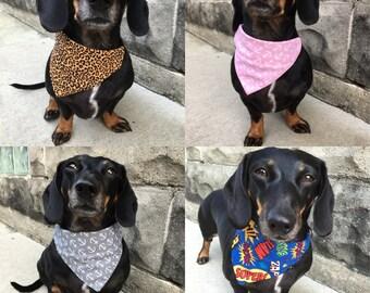Small Dog Collar-Slide Bandana (various prints available)