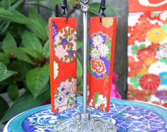 Chiyogami Kimono earrings - red, floral, Japanese, rectangle, dangle earrings