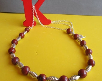 Long Opera necklace natural Jasper antique silver-plated twisted tube