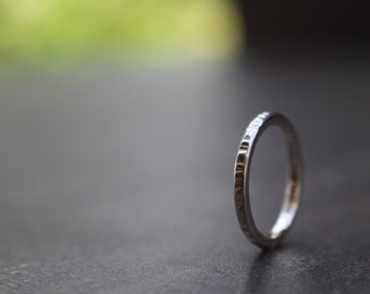 Ring silver, thin, hammered, stacking ring 001