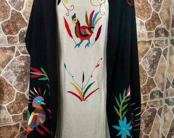 Hand-embroidered by hand blanket scarf