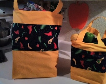 Reusable Canvas Grocery Tote Bag - Lined or Unlined
