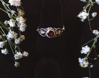 Ruby Red Gemstone Sterling Silver Ring Size 5 and 6