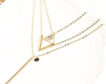 3 Layer Classy Triangle Necklace