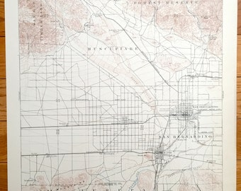 Antique San Bernardino And Riverside California 1901 Us Geological Survey Topographic Map
