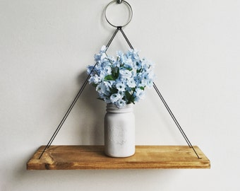 Hanging Shelf Cord, Rustic Wood Shelf, Floating Shelf