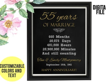55 Year Wedding Anniversary Gift 55th Anniversary PRINTABLE Digital File Personalized, Gift for Couples, 55th Anniversary Chalkboard