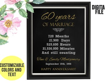 60 Year Wedding Anniversary Gift 60th Anniversary PRINTABLE Digital File Personalized, Gift for Couples, 60th Anniversary Chalkboard