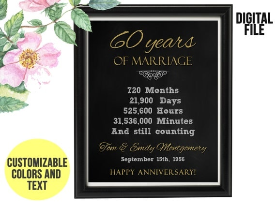 35th Wedding Anniversary Gifts For Wife: 60 Year Wedding Anniversary Gift 60th Anniversary PRINTABLE