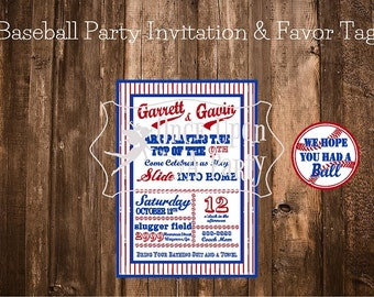 Vintage, distressed baseball party printables