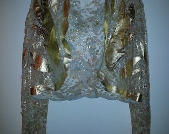 Gold sequined vintage Kanar designer jacket Sz Medium