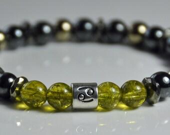 Zodiac Hematite Peridot Gemstone Mala Bracelet,Birthstone Bracelet,Men mala bracelet,Boho Bracelet,Japa Mala,Reiki Healing Bracelet,Yoga