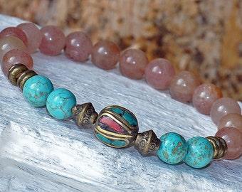Stress, Anxiety, Healing Mala Bracelet,Turquoise, Lepidolite Stackable Bracelet,Meditation Yoga Bracelet, Gemstone Chakra Bracelet, Buddha