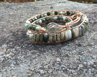 Beaded Leather Bracelet Triple Wrap Made With Genuine Tree Agate Pewter Beads