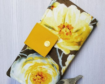 Yellow Golds Women's wallet, bifold fabric wallet, slim handmade wallet, womans clutch wallet, credit card checkbook wallet, gifts for her