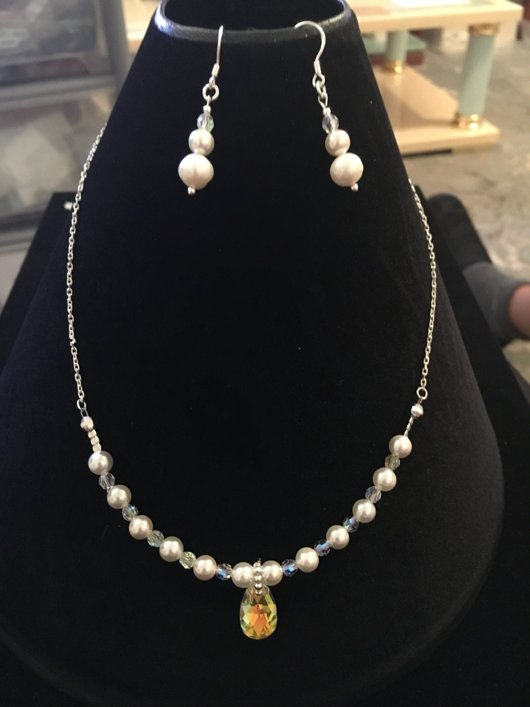Swarovski Necklace, Swarovski Earrings, Pearl Necklace, Pearl Earrings  Bridal Jewellery Valentines Gifts