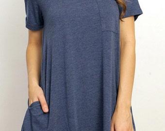 SALE T Shirt Dress with Side Pockets