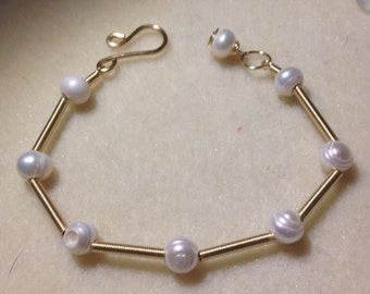 wire and pearl bracelet