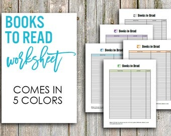 Printable Books to Read Worksheet, Multiple Colors