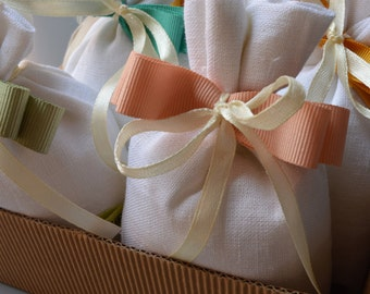 Linen bag-Pink Ribbon-white favor box