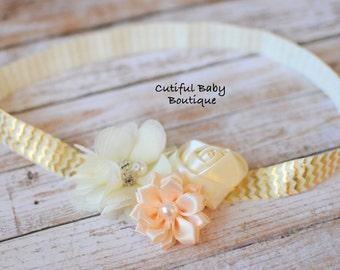 Ivory Chevron Fold Over Elastic Headband, Fabric Headband, Baby Headband