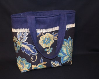 Blue Floral and Chevron Tote Bag