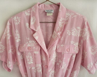 Floral Print Pink Belted Dress