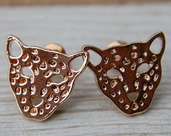 Rose Gold Plated Leopard Studs