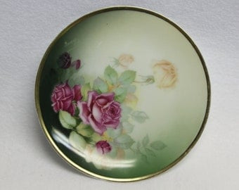Plate.  Vintage Sevres Bavaria.   Hand Painted Plate Green with Pink Roses