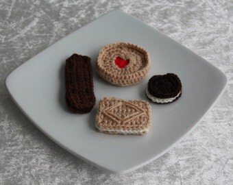Crochet Biscuits, Cookies, Jammie Dodger, Custard Cream, Oreo, Bourbon, Handmade, Set of Four