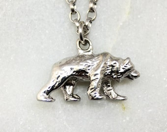 Tiny Solid Silver Grizzly Bear Necklace