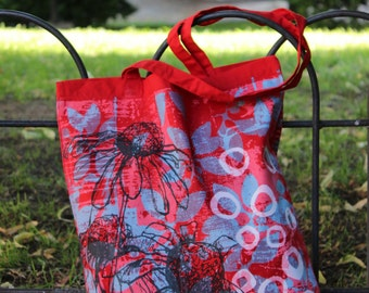Daisy tote bag in red