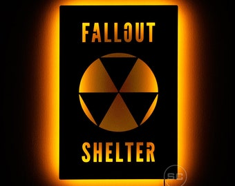 Lighted Fallout Shelter Sign - Nuclear Apocalypse Wall Art and Fallout Night Light
