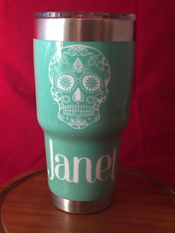 Sugar Skull Yetirticozark Trail Tumblerrambler With Glitter And - Sugar skull yeti cup