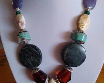 Gorgeous luxurious necklace made of semi precious stones - 8 types of crystals