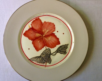 Red hibiscus on Marchesia by Lenox plate