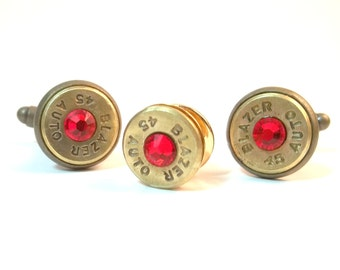 Bullet Jewelry- 45 Caliber Bullet Cuff Link and Tie Tack Set