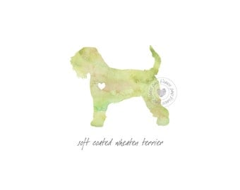 Soft Coated Wheaten Terrier Dog Watercolor Painting Digital Art Print Silhouette Custom Wall Decor, Home, Office, Nursery, Room Decor
