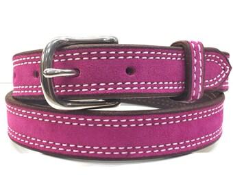 Hot Pink Suede Belt, Pink Belt, Suede Belt, Leather Belt, Genuine Suede Belt, Women Belt, Fuchsia Belt, Fashion Belt, Gifts For Her