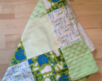 Green Flannel Minky Patchwork Blanket