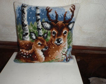 hand-embroidered Cushion cover, two deer, Naturalight