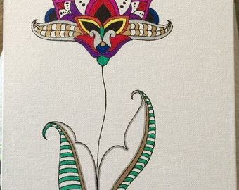 Colorful mehndi flower with stem and leaves
