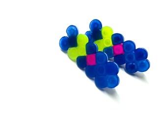 Neon colorful tribal stud earrings