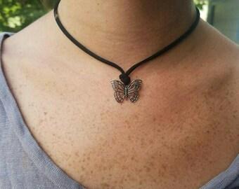 Butterfly charm semi-choker