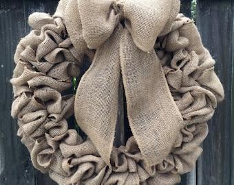 Burlap wreath, rustic wreath, wedding