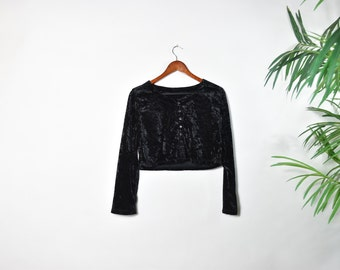 Vintage 90's Black Velvet Crop Top